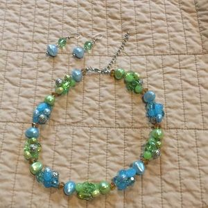 Blue and green necklace and earring set